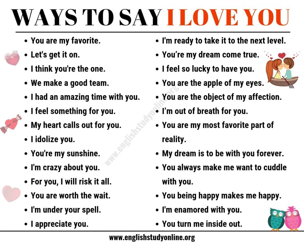 55 Romantic Ways To Say I Love You In English English