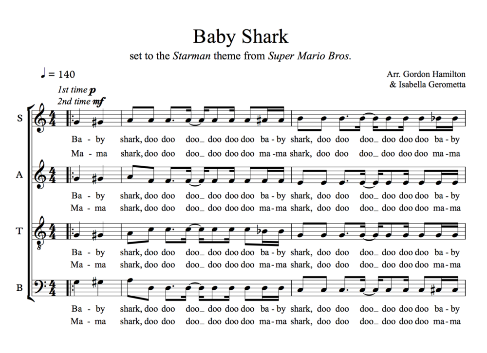 Baby Shark SATB In 2020 Cello Sheet Music Saxophone