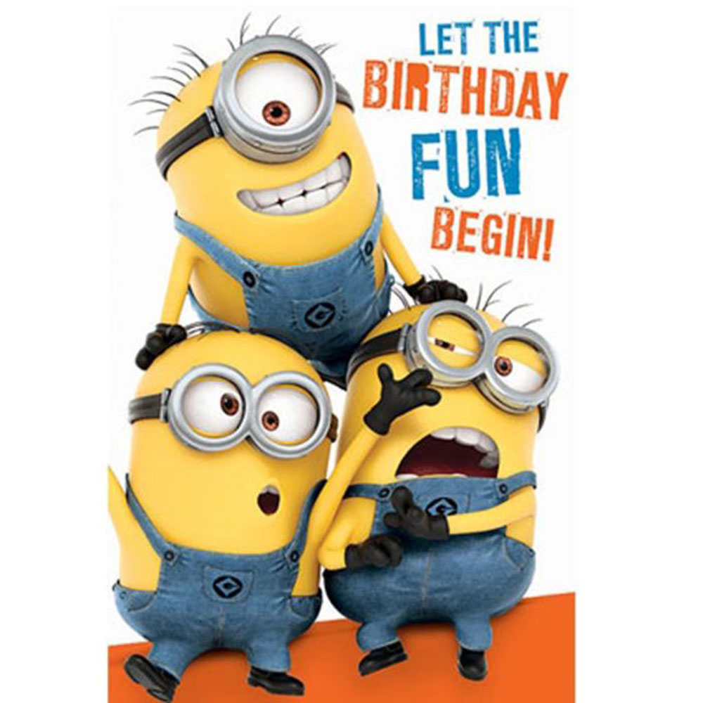 Birthday Fun Minions Birthday Card With Door Hanger