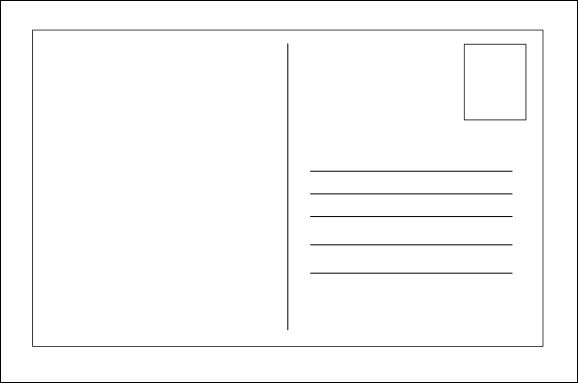 Blank postcard template Printable Postcards Postcard