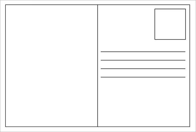 Blank Postcard Template Templates Printable Postcards