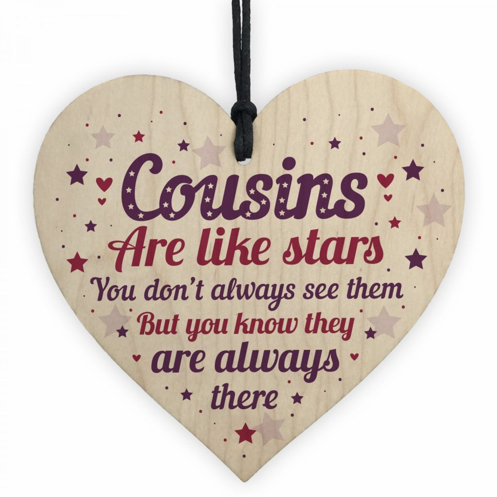 Cousin Heart Plaque Wooden Cousin Birthday Card Male