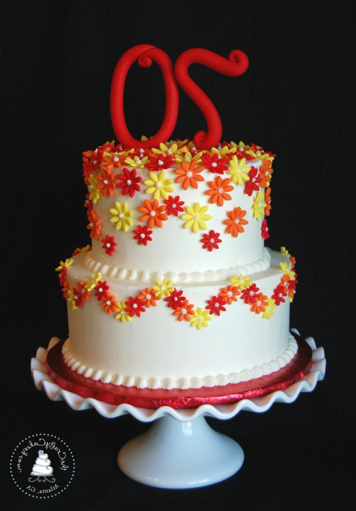 Daisy Themed 70Th Birthday Cake Buttercream Iced With