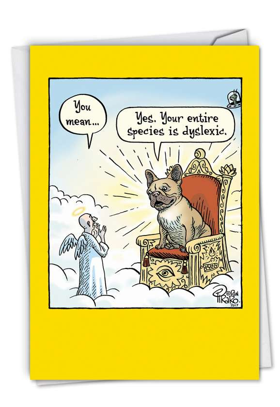 Dyslexic God Hysterical Birthday Printed Card