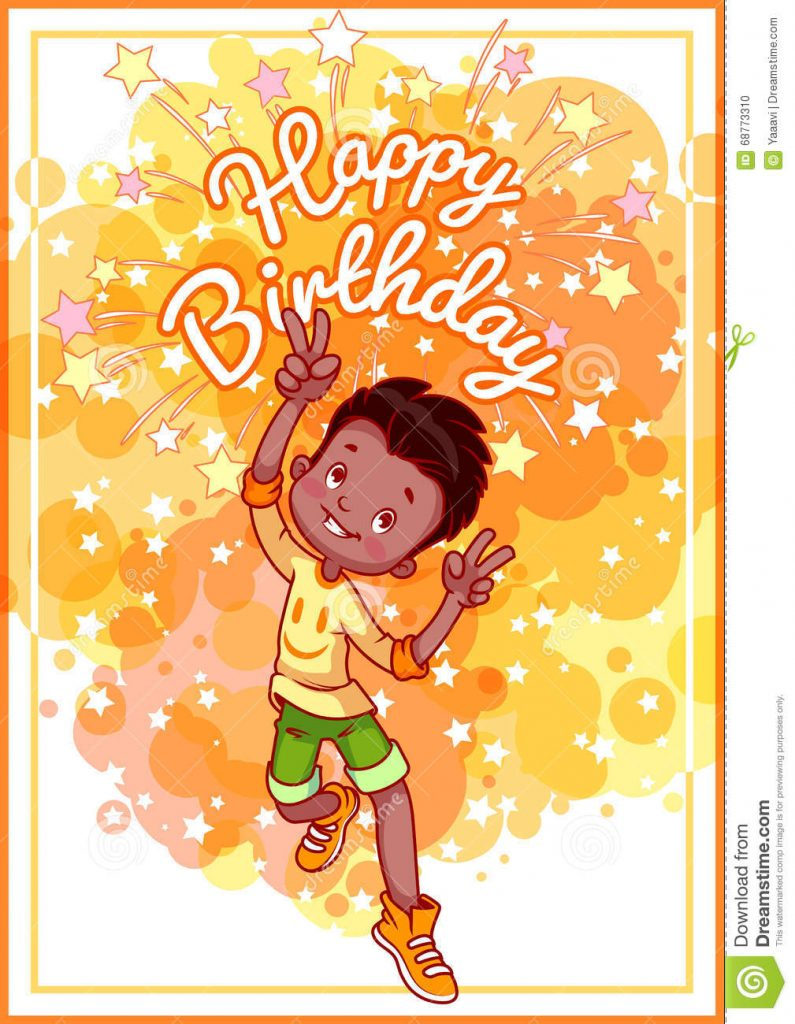 Greeting Card Birthday With A Happy African American Boy