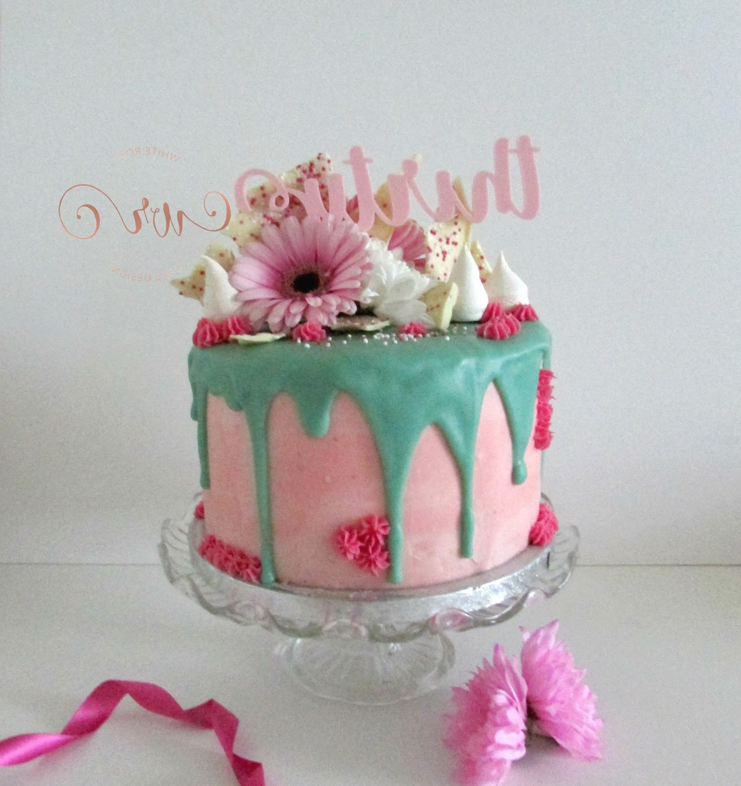 Pink And Teal Drippy 30th Birthday Cake White Rose Cake