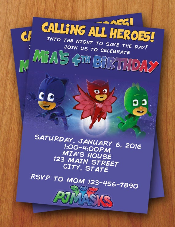 PJ Masks Digital Birthday Invitation By ThePurpleMonkeyShop