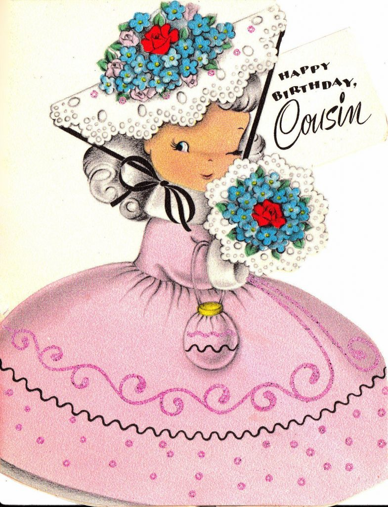 Vintage 1950s UNUSED Happy Birthday Cousin Greetings Card