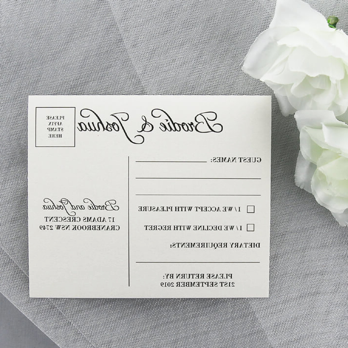 Wedding RSVP Postcard With Return Date Red Rose Invitations
