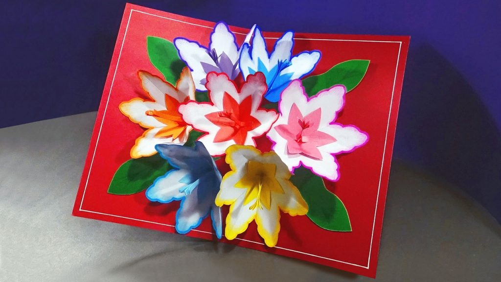 How To Make A 3d Flower Pop UP Card YouTube