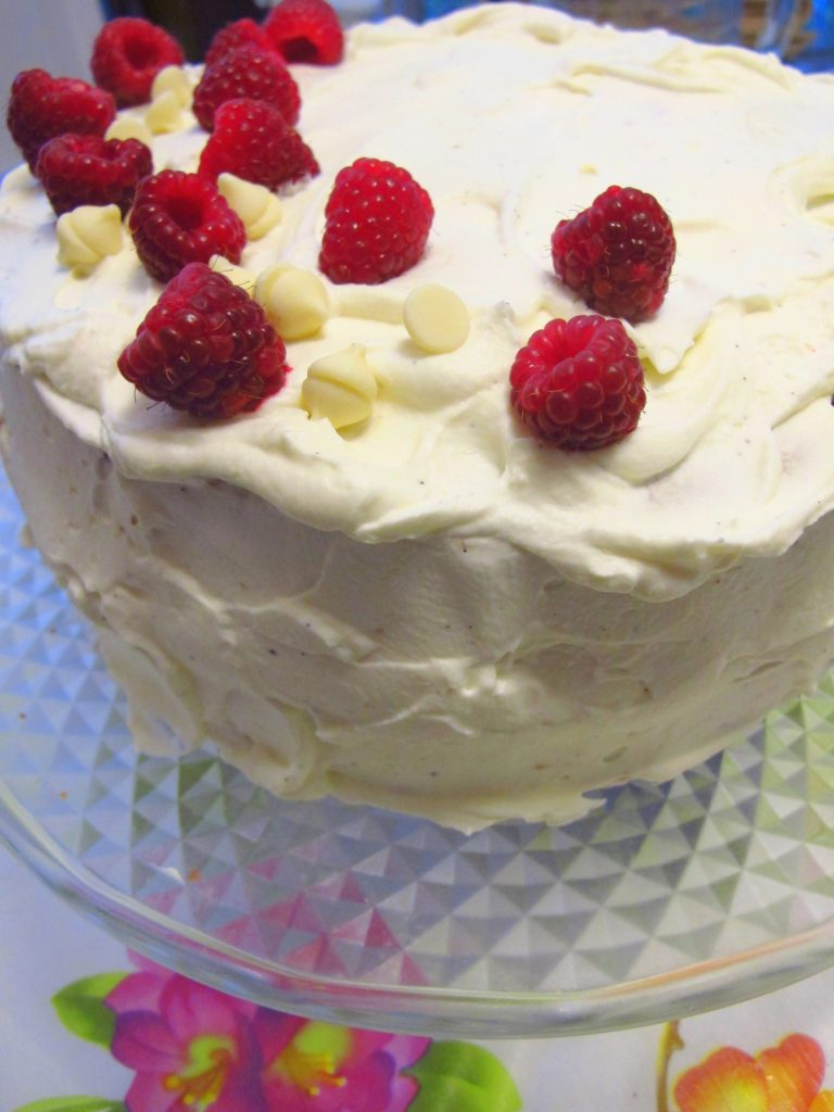 White Chocolate Raspberry Birthday Cake