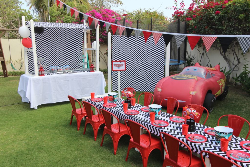 Cars party setup Polkadot Party Hire