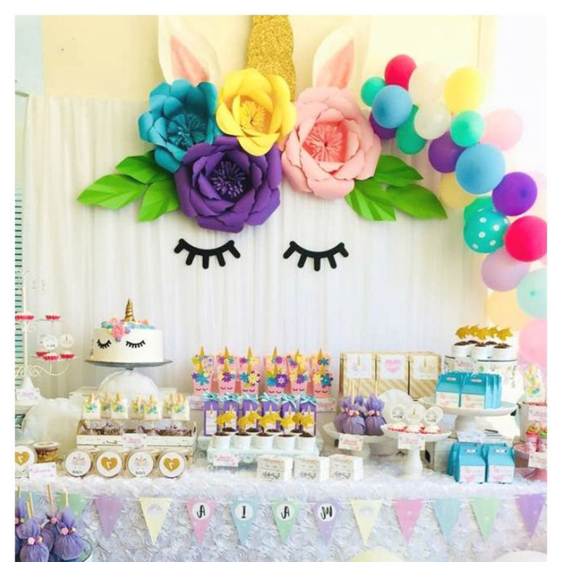 Unicorn Party Decoration DIY Paper Flowers Backdrop Decor